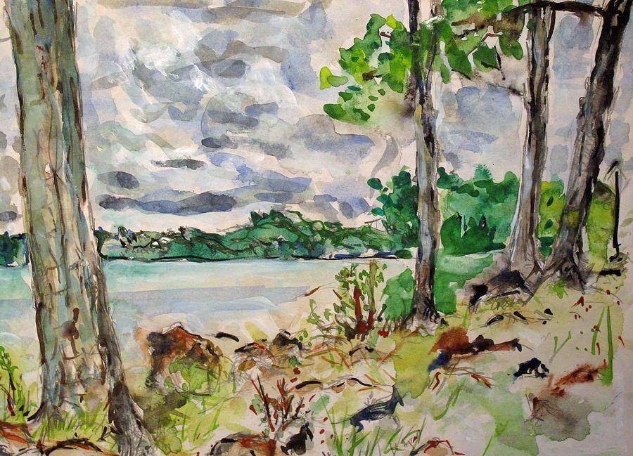 Watercolor Painting - Lake by Vladimir Kezerashvili