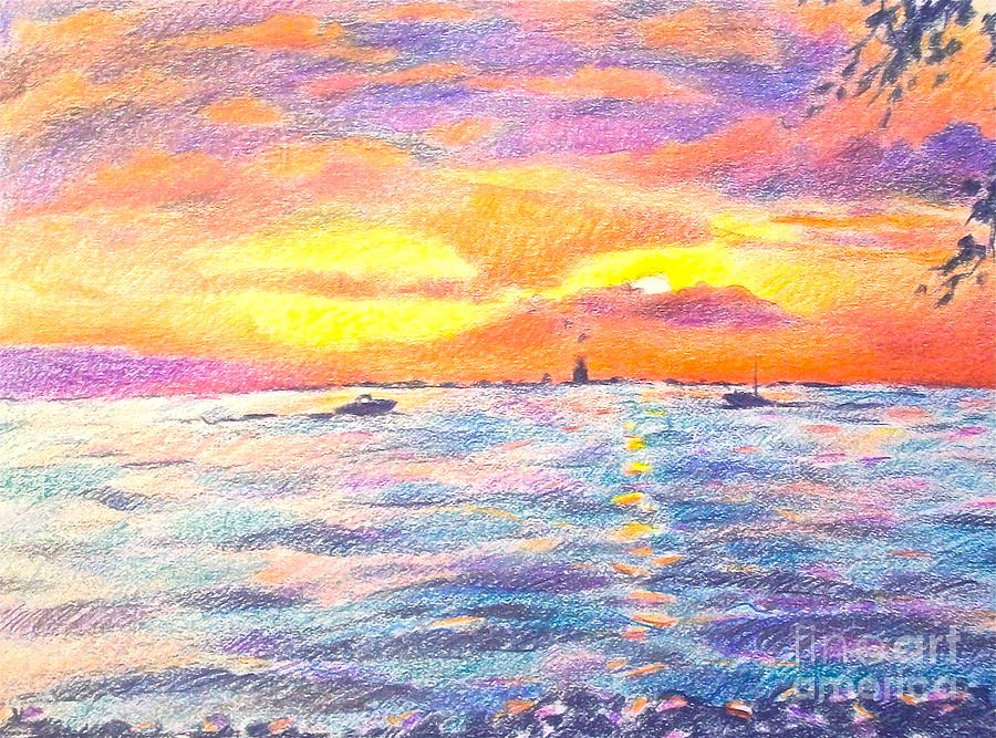 Sunset Drawing - Lakescape by Linda Zolten Wood