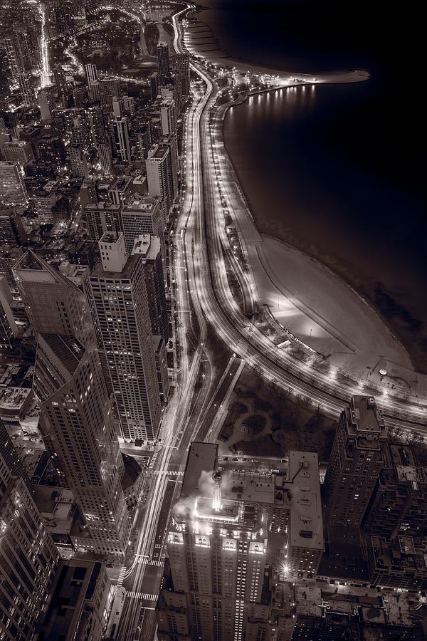 Beach Photograph - Lakeshore Drive Aloft Bw Warm by Steve Gadomski