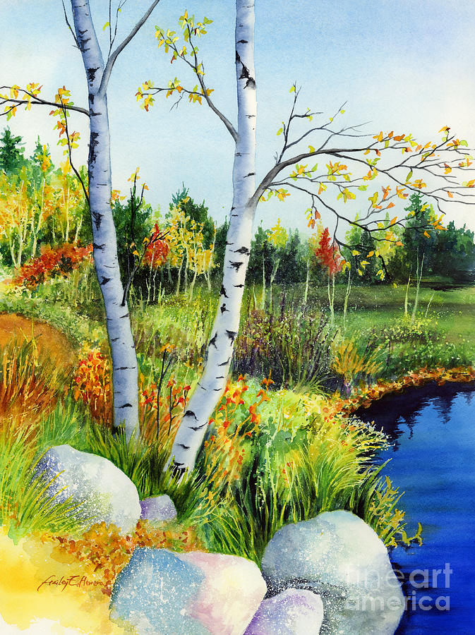 Lakeside Birches Painting