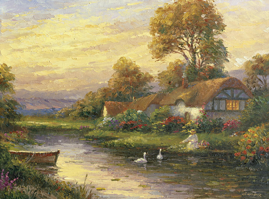 Woman Painting - Lakeside Cottage by Ghambaro