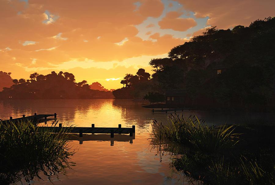 Sunset Digital Art - Lakeside by Cynthia Decker