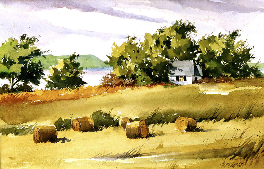 Lakeside Hay Painting by Art Scholz