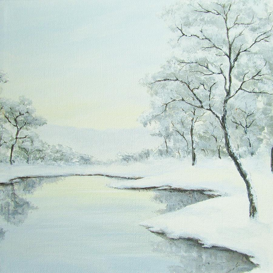 Winter Painting - Lakeside In Winter by Anna Bronwyn Foley