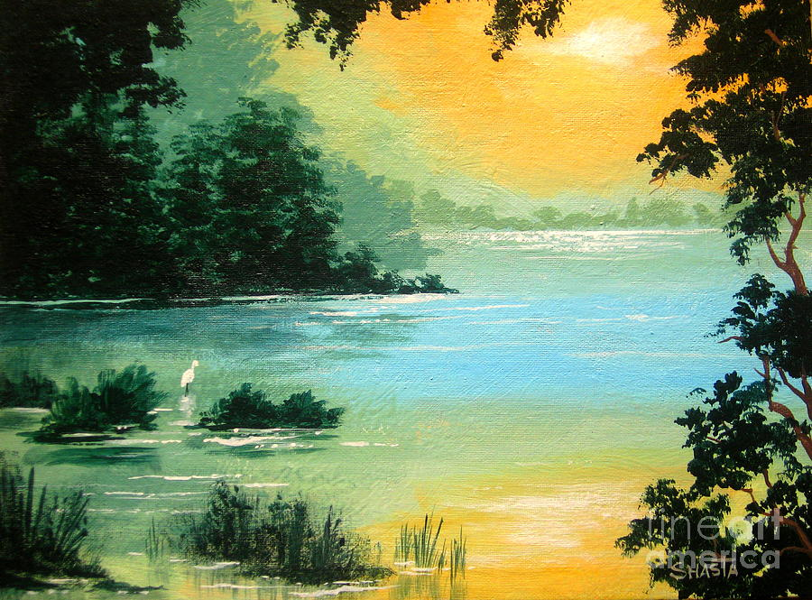 Serenity Landscapes Painting - Lakeside   by Shasta Eone