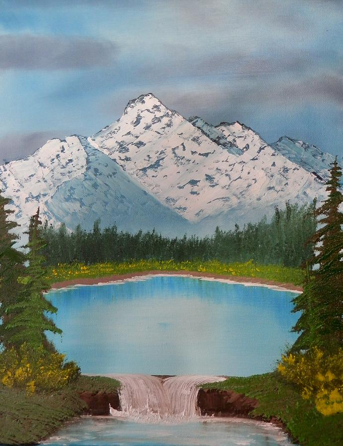 Landscape Painting - Lakeside Waterfall by Jared Swanson