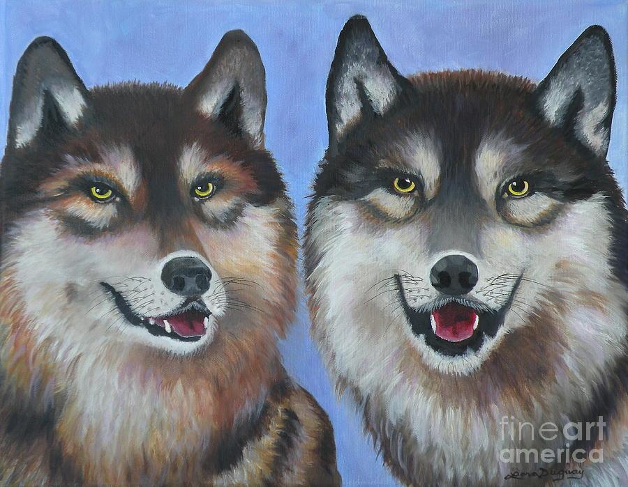 Wolves Painting - Lakota and Arapaho by Lora Duguay