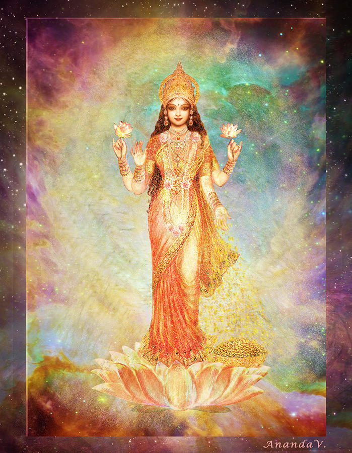 Spiritual Mixed Media - Lakshmi floating in a Galaxy by Ananda Vdovic