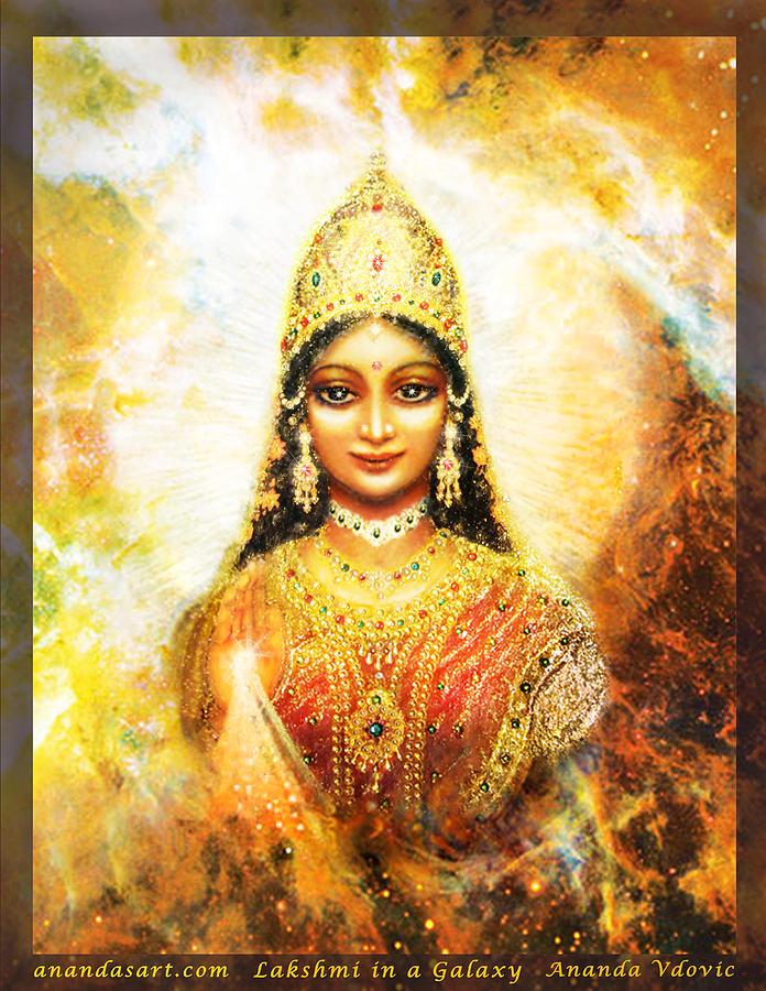 Lakshmi Mixed Media - Lakshmi Goddess Of Abundance In A Galaxy by Ananda Vdovic