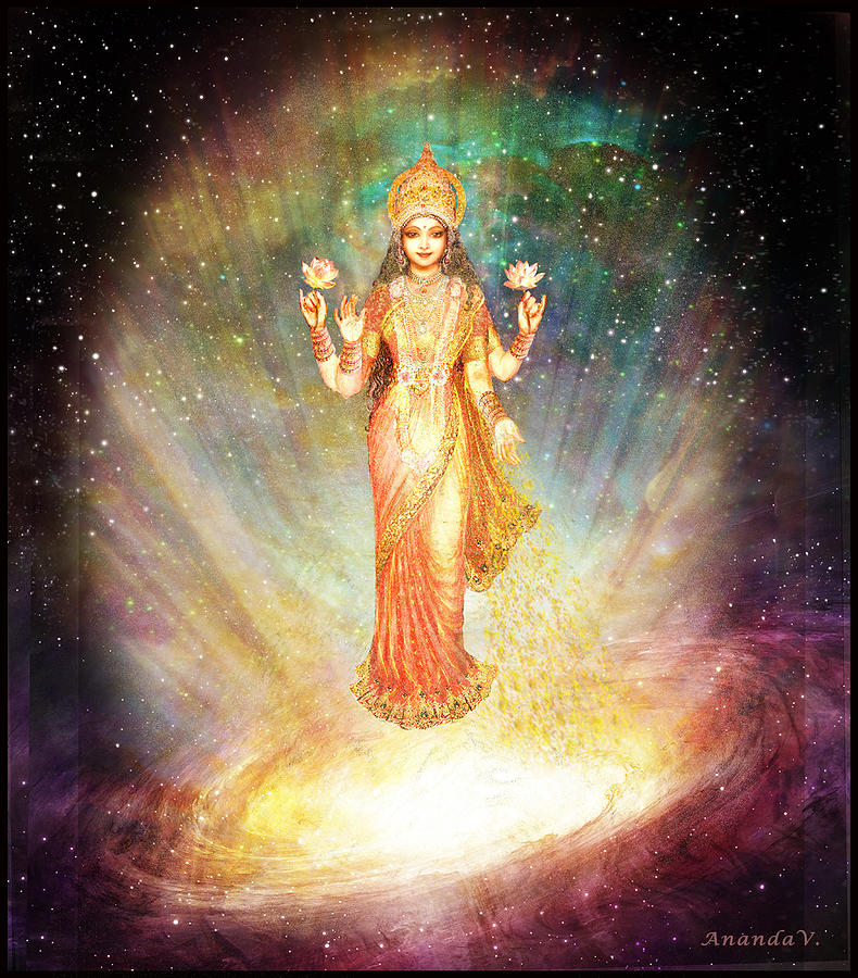 Lakshmi Mixed Media - Lakshmi Goddess Of Abundance Rising From A Galaxy by Ananda Vdovic