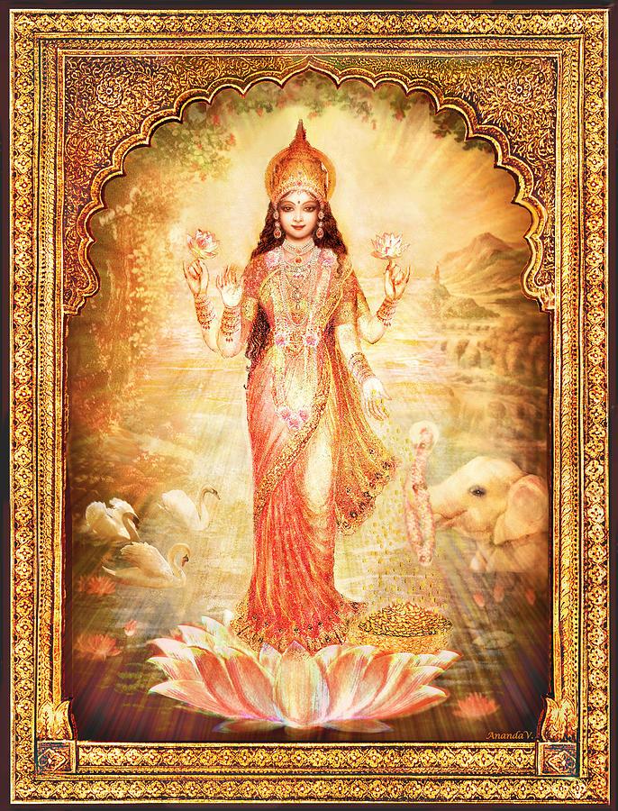 Goddess Mixed Media - Lakshmi Goddess Of Fortune With Lighter Frame by Ananda Vdovic