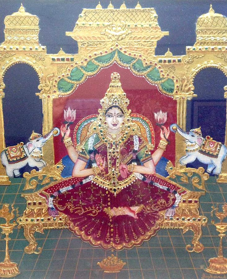 Tanjore Painting - Lakshmi by Jayashree