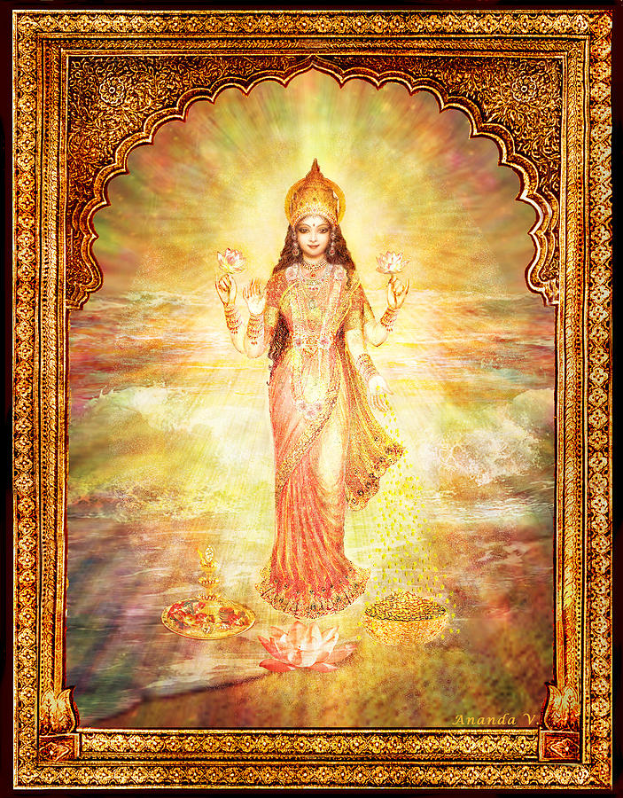 Goddess Painting Mixed Media - Lakshmi The Goddess Of Fortune And Abundance by Ananda Vdovic