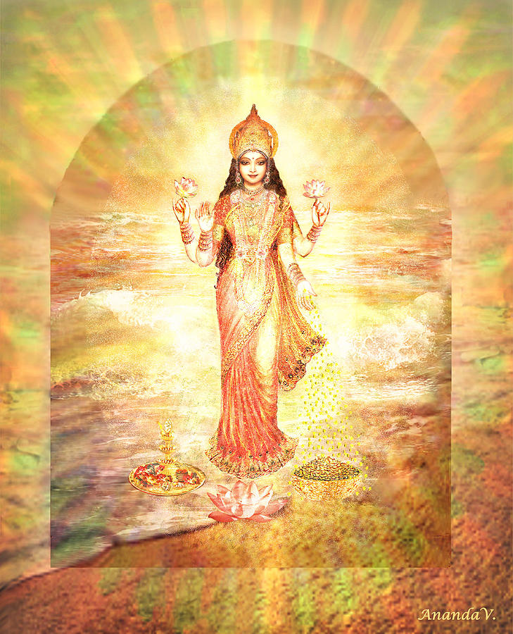 Goddess Mixed Media - Lakshmis Birth from the Milk Ocean by Ananda Vdovic