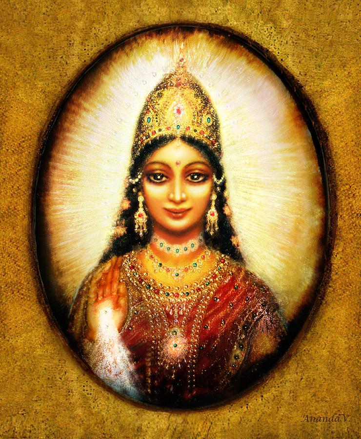 Lakshmi Mixed Media - Lakshmis Blessing by Ananda Vdovic