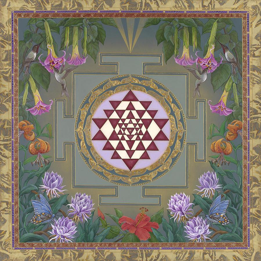Mandala Painting - Lalitas Garden Sri Yantra by Nadean OBrien
