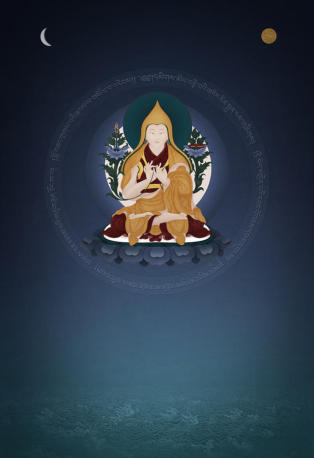 Tsongkhapa Painting - Lama Tsongkhapa - Ganden Hlagyama by Ben Christian