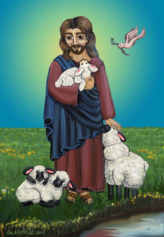 Folk Art Painting - Lamb Of God by Victoria De Almeida