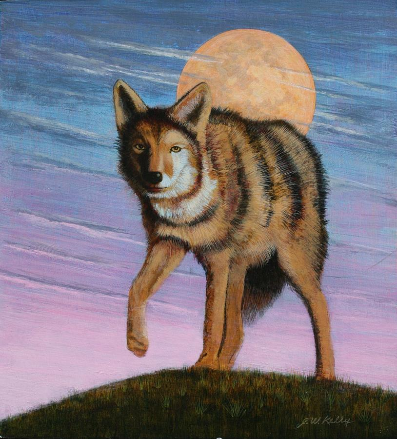 Lame Coyote Painting by J W Kelly