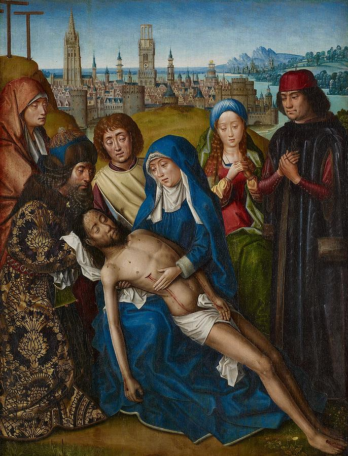 Jesus Painting - Lamentation With Saint John The Baptist And Saint Catherine Of Alexandria by Master of the Legend of Saint Lucy