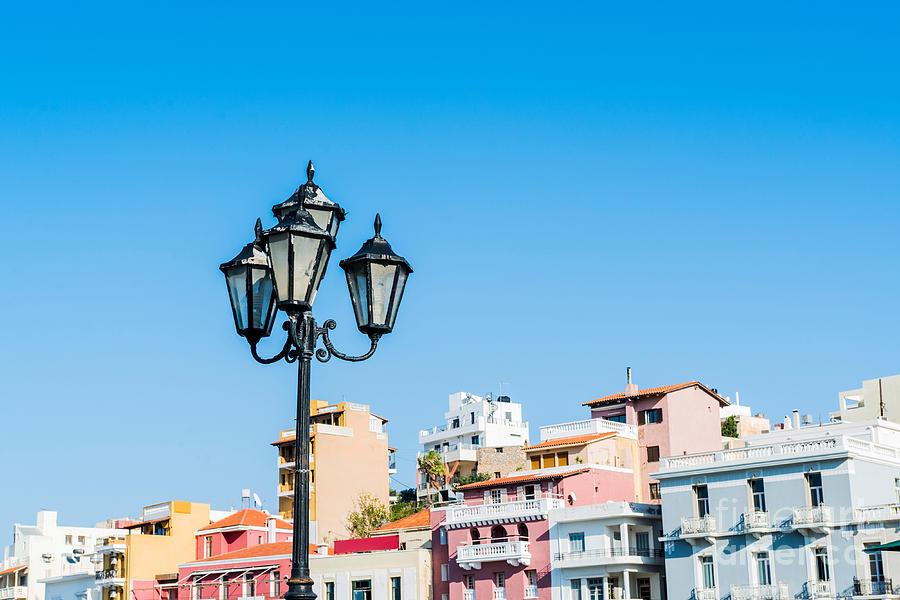 Lamp Photograph - Lamp In Agios Nikolaos by Luis Alvarenga