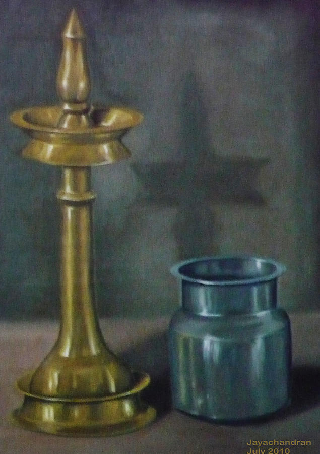Still Life Painting - Lamp by Jayachandran S Pillai