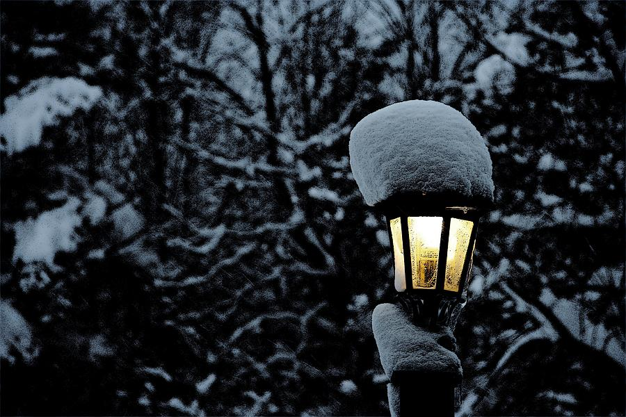 Snow Photograph - Lamp Light In Winter by Carolyn Reinhart