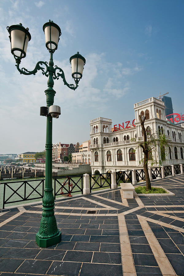 Lampost With Palace In Venetian Style Photograph by Manfred Gottschalk