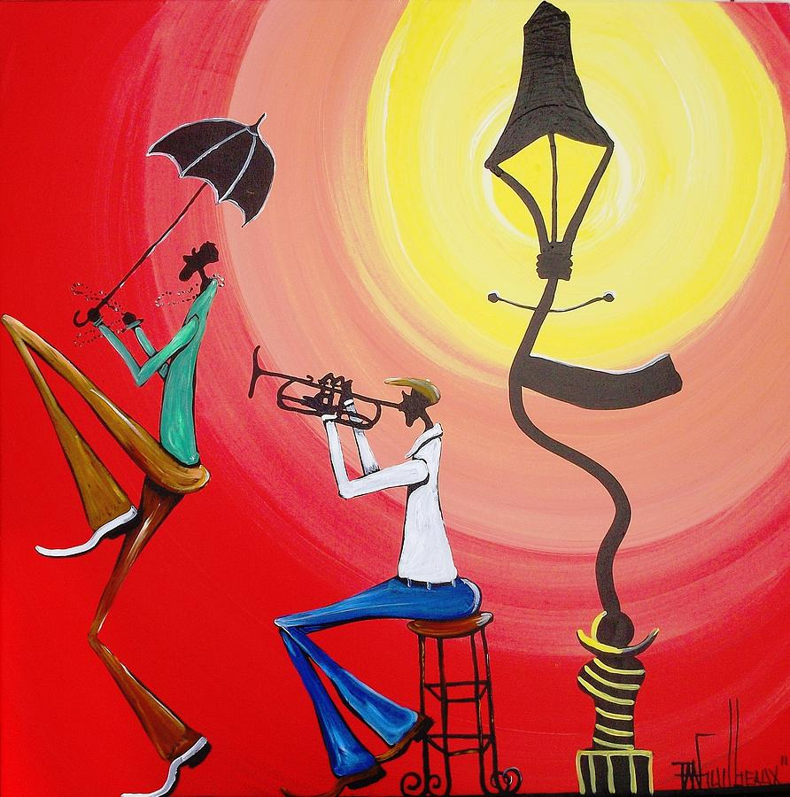Lamppost Jazz Painting by Guilbeaux Gallery for Lamp Post Painting  197uhy