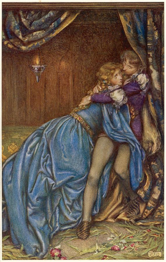 Lancelot Drawing - Lancelot And Guinevere  Together by Mary Evans Picture Library