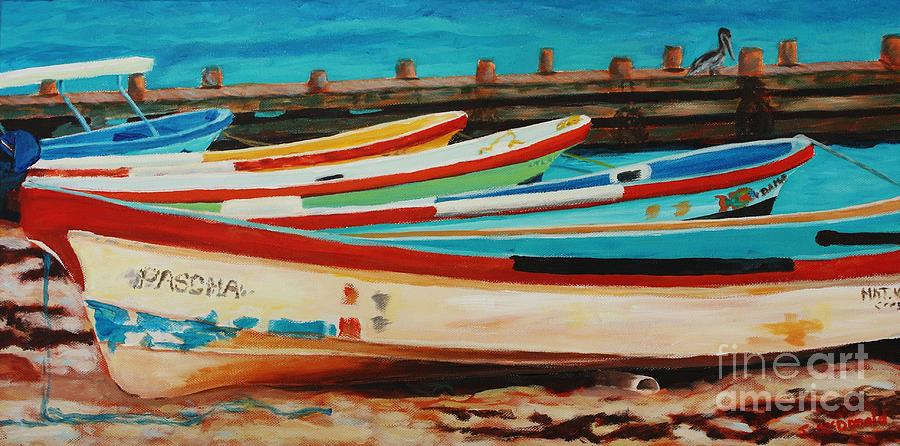 Boats Painting - Lanchas Mexicanas by Janet McDonald