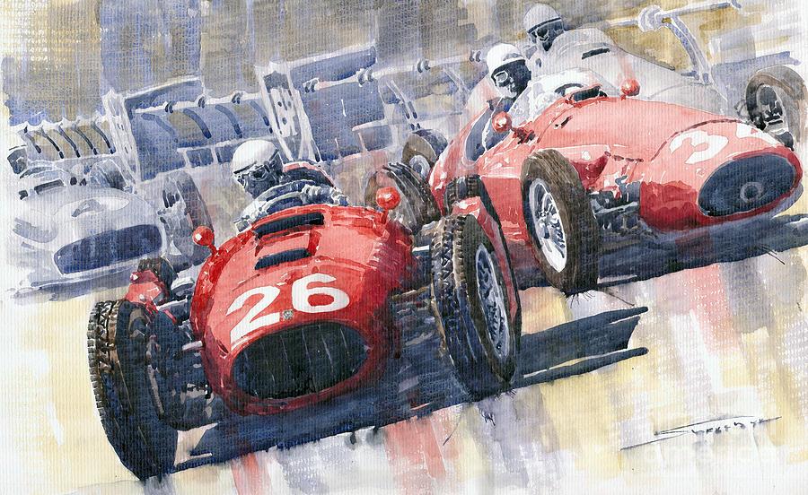 Watercolour Painting - Lancia D50 Alberto Ascari Monaco 1955 by Yuriy  Shevchuk