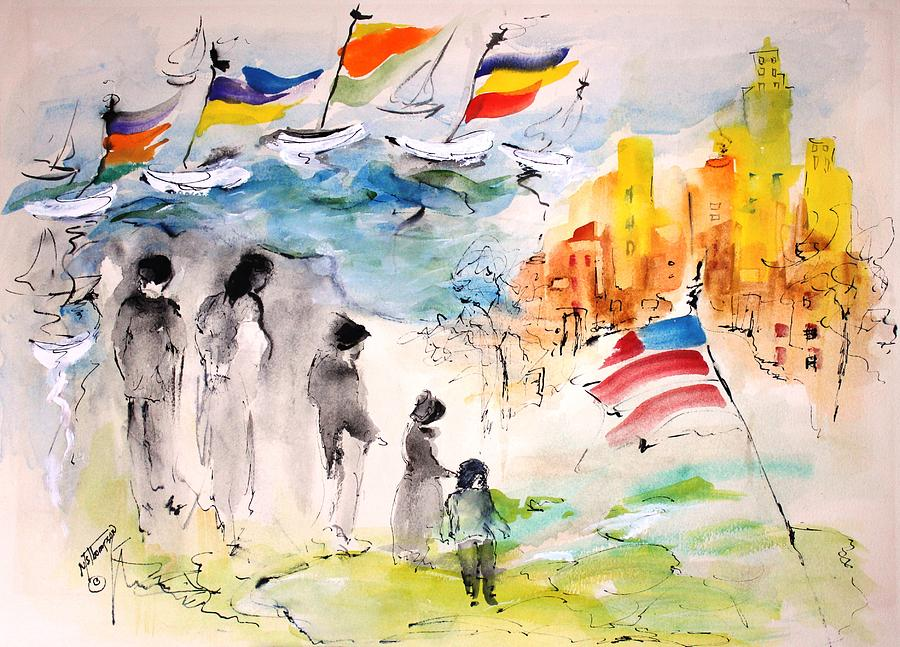 American Flag Painting - Land Of Plenty by Mary Spyridon Thompson