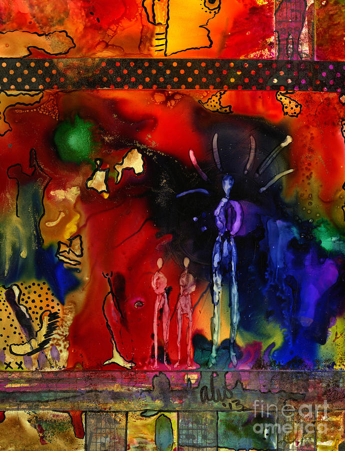 Ink Mixed Media - Land Of The Giants by Angela L Walker