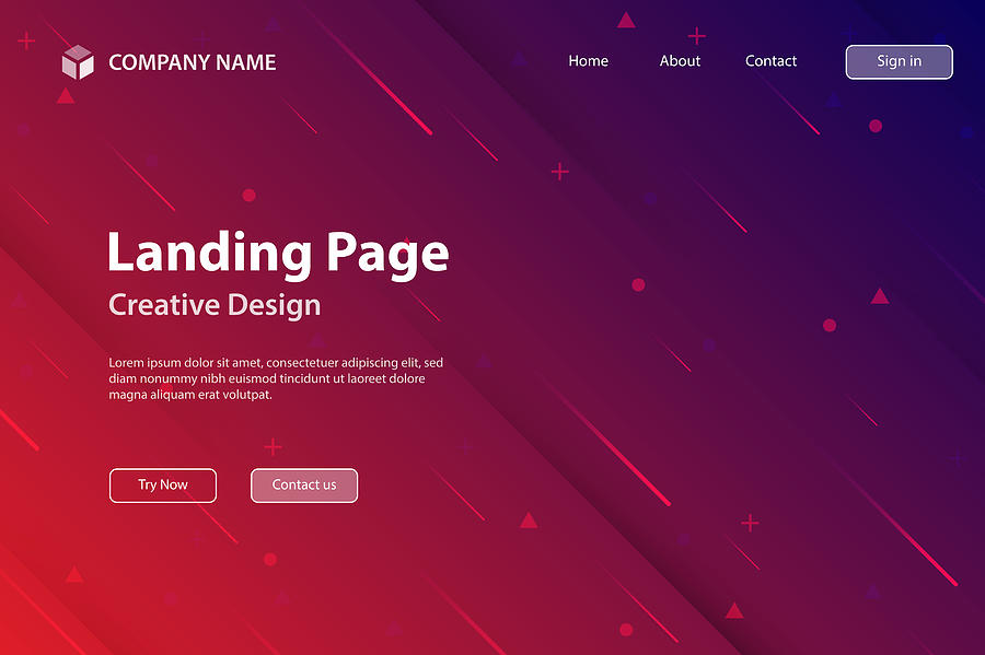 Landing page Template - Abstract design with geometric shapes - Trendy Red Gradient Drawing by Bgblue