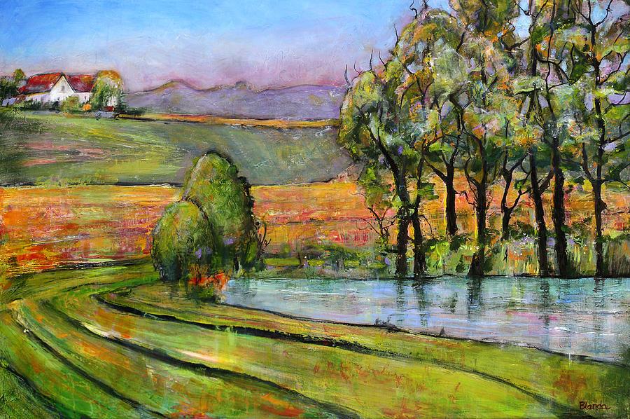 Pacific Northwest Landscape Painting - Landscape Art Scenic Fields by Blenda Studio