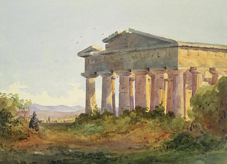 Ruins Painting - Landscape At Paestum by Arthur Glennie