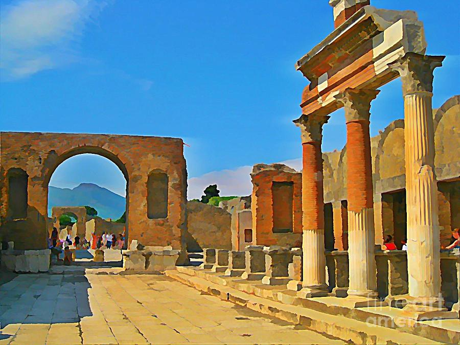 Pompeii Italy Painting - Landscape At Pompeii Italy Ruins by John Malone