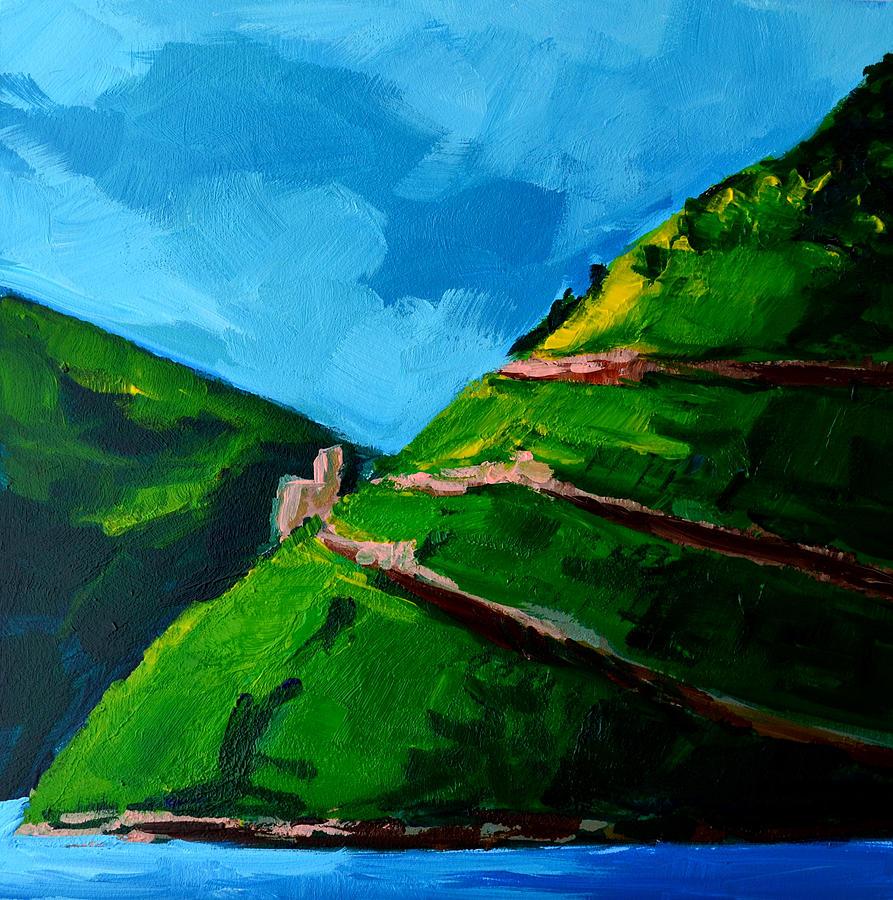 Landscape Painting - Landscape Castle Along The River Rhine by Patricia Awapara