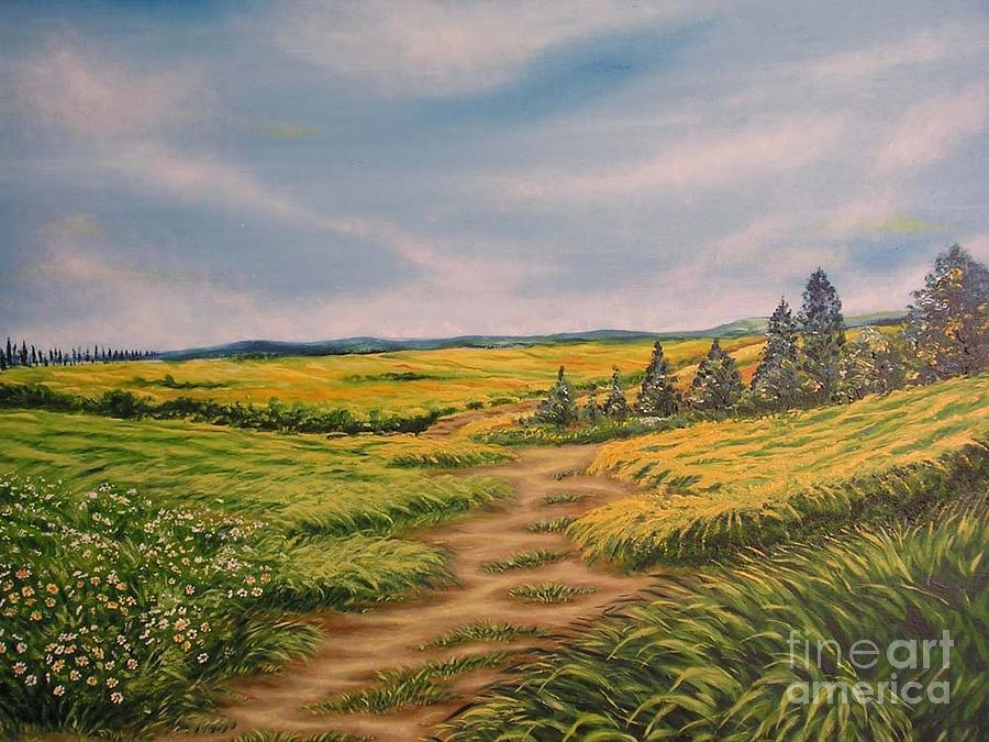 Grass Field Painting - Landscape Field Grass Trees And Road  by Drinka Mercep