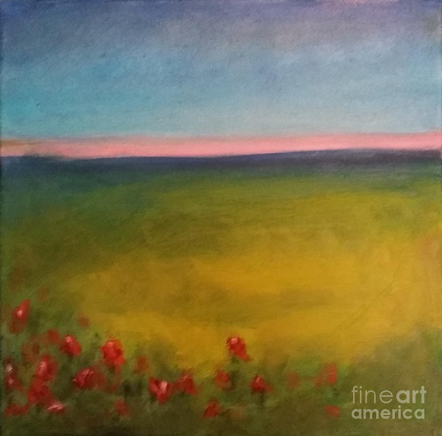 Landscape Painting - Landscape In Violet With Red Flowers by Piotr Wolodkowicz
