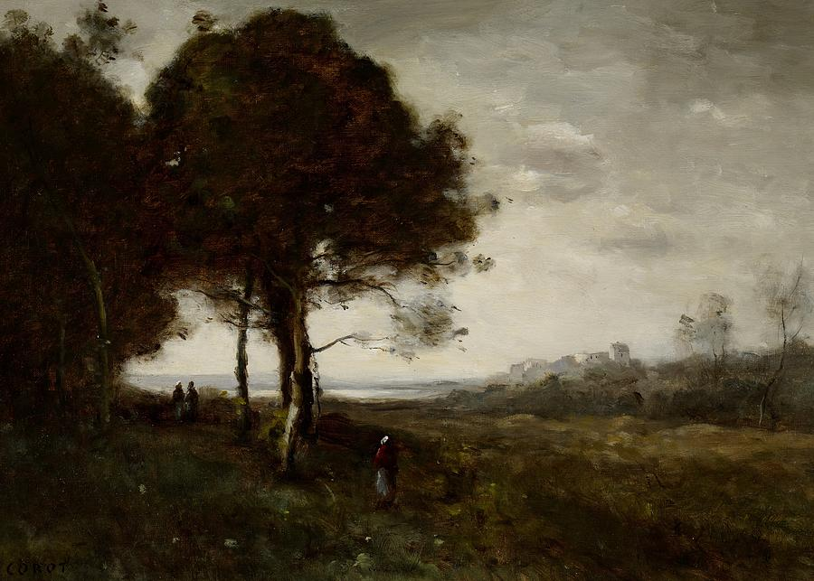 Landscape; Figures; Figure; Tree; Realism; Realist; Trees; Cloudy; View; Panorama; Countryside; Rural; Painting; France; French; Tree Painting - Landscape by Jean Baptiste Camille Corot