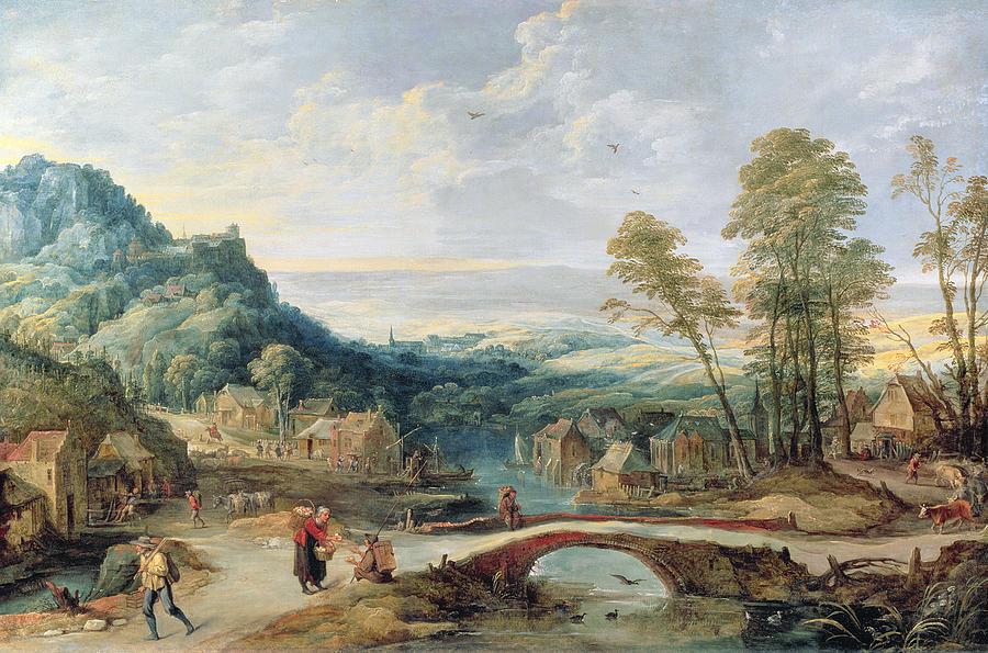 Village Painting - Landscape by Joos or Josse de, The Younger Momper