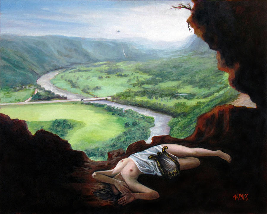Cueva Ventana Painting - Landscape Of Cueva Ventana With Eurydice Abandoned By Orpheus Transformed Into A Bird by Ben  Morales-Correa