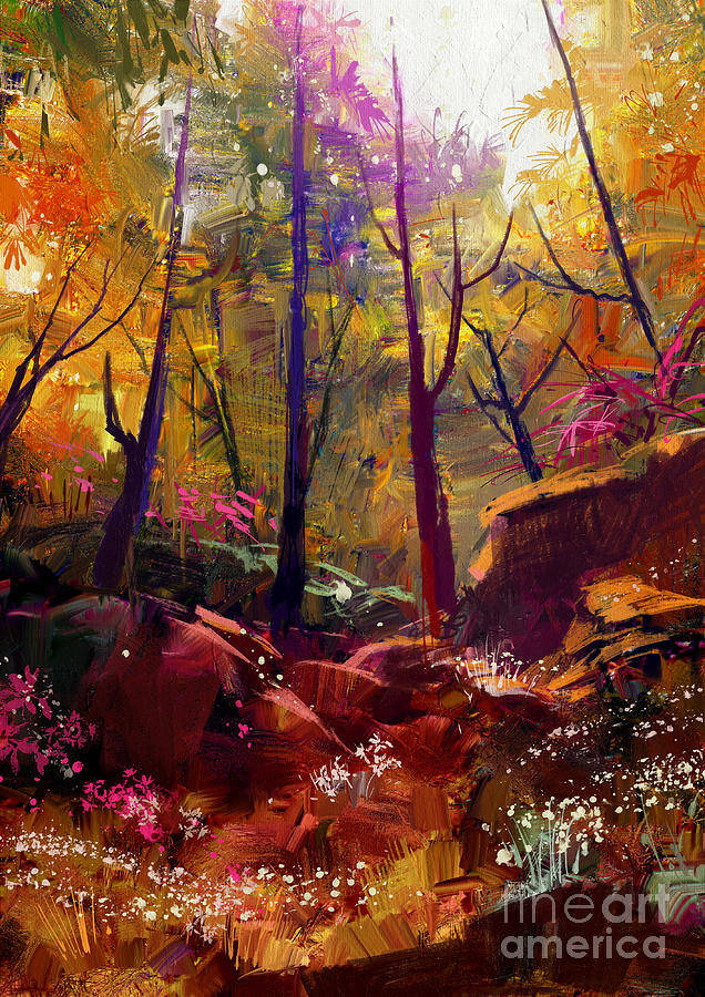 Forest Digital Art - Landscape Painting Of Beautiful Autumn by Tithi Luadthong