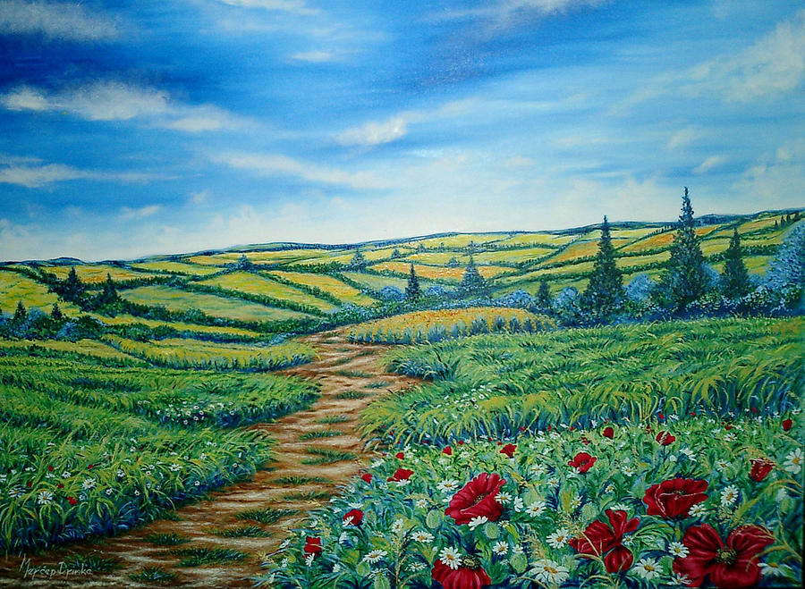 Modern Painting - Landscape Road Grass Poppies and Daisies by Drinka Mercep