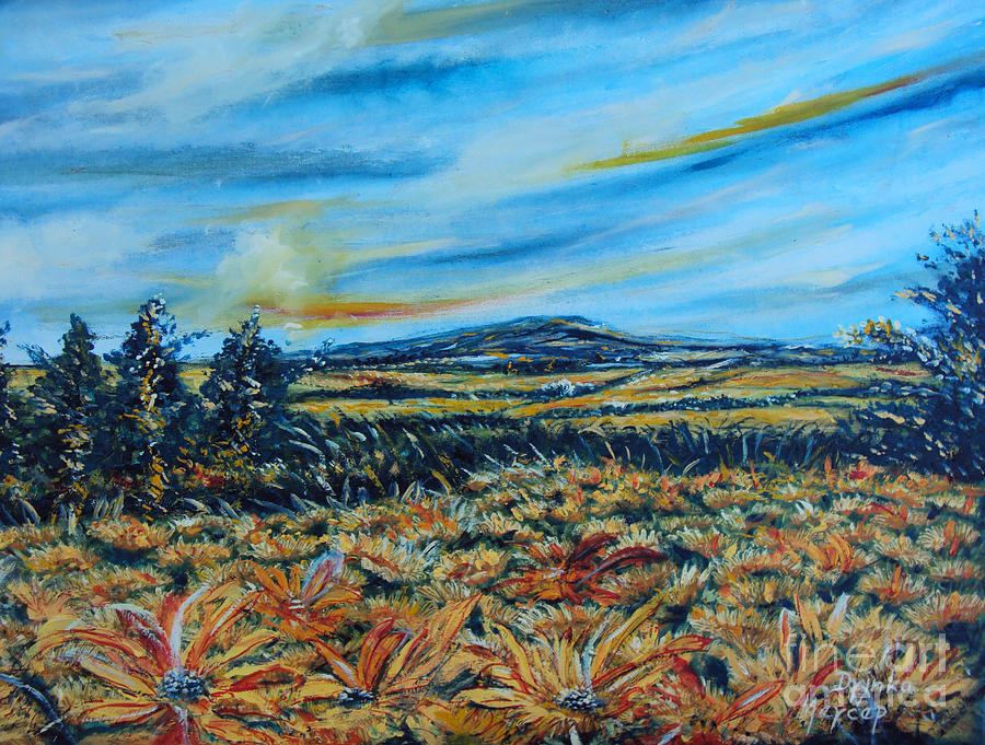 Clouds Painting - Landscape Sunflowers Field  by Drinka Mercep