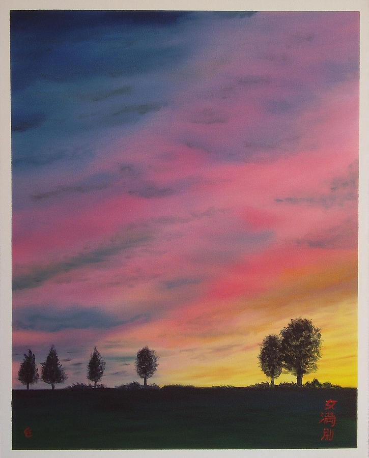 Japan Painting - Landscape Sunset In Memenbetsu Cho Japan by Gianluca Cremonesi