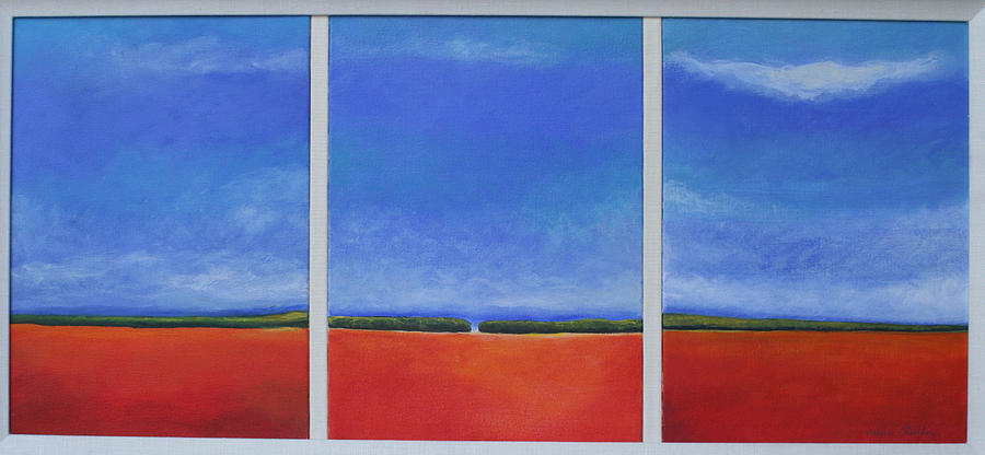 Red Painting - Landscape Triptych  by Victoria Sheridan