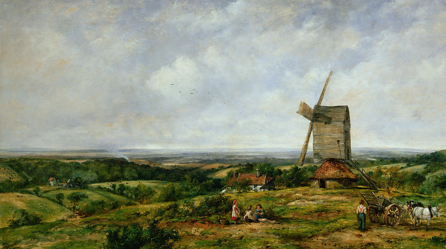 Children Painting - Landscape With Figures By A Windmill by Frederick Waters Watts
